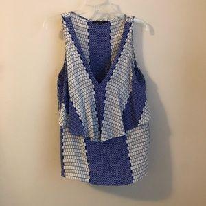 Tibi • cobalt layered sleeveless silk top